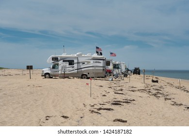Provincetown, Massachusetts/USA 6/10/19 Recreational Vehicles and Motorhomes camping on Race Point Beach.