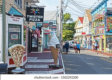 Provincetown, Massachusetts/USA - September 11 2019: Commercial Street in Provincetown is home to a very eclectic range of stores, cafes and restaurants,