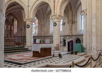 PROVINS, FRANCE - MARCH 15, 2020. interior of the Saint-Quiriace Collegiate Church in Provins. it is a 12th century church, which has the distinction of never having been completed.