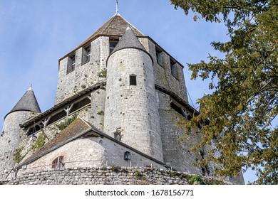 PROVINS, FRANCE - MARCH 15, 2020. The César Tower is a 12th century keep. During the Hundred Years War, it was occupied by the English who surrounded it with a wall.