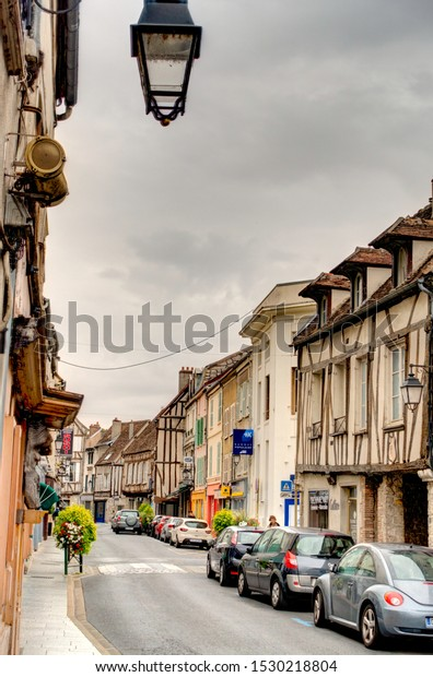 Provins, France - October 2019 : Historical center in cloudy weather, HDR Image