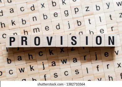 Provision word concept on cubes