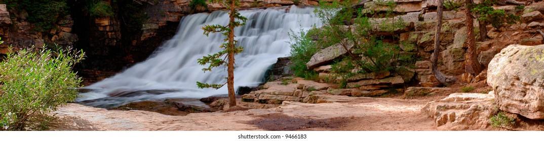 Provo River Falls panorama, Uinta Mountains, Utah