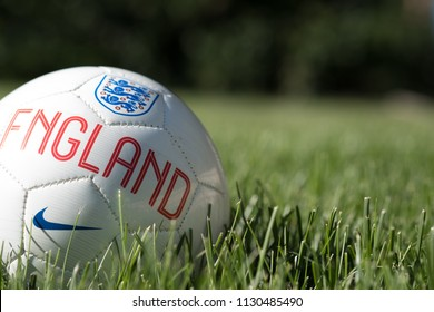 Provo, UT, USA - 1 July 2018: Close up of team England soccer ball in a soccer field. England football team, participating in the Russia 2018 FIFA world cup finals, on the football pitch.