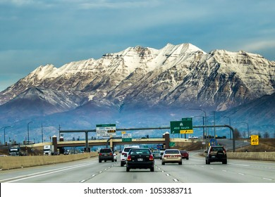 Provo, Utah - 1/8/2018:  Interstate Highway 15 in Provo, Utah with Mt Timpanogos in background