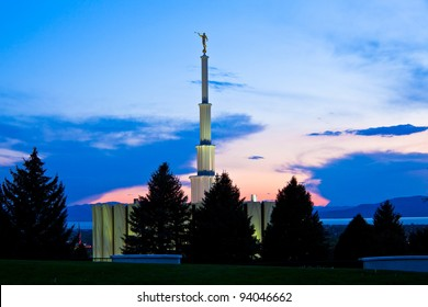 Provo Utah Temple at Sunset