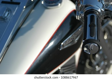 Provo, Utah, USA - 26 September 2003: Close up of a Harley Davidson Fat Boy, classic American Motorcycle, in the sun, sunshine reflecting off the chrome. Very customized Harley Davidson motorcycle.