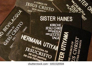 Provo, Utah, USA - 5 December 2003: Pile of Missionary tags worm by young women who are called Sisters serving a mission for the Church of Jesus Christ of Latter Day Saints also known as the Mormons.
