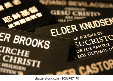 Provo, Utah, USA - 5 December 2003: Detail of tags worn by missionaries who serve a mission for the Church of Jesus Christ of Latter Day Saints also known as the Mormons. Missionary badge for Mormons.