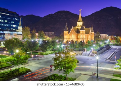 Provo, Utah, USA at Provo City Center Temple at twilight.