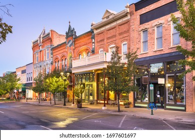 Provo, Utah, USA downtown on Center Street at dusk.