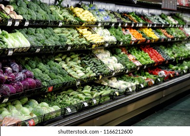 Provo, Utah, USA June 29, 2016 Fruits and vegitables displayed for sale in the produce department of a modern grocery store.