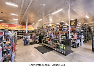 Provo, Utah, USA, , USA May, 21 2016 The interior of a modern auto parts store with displays of tools, repair and maintenance parts for sale.