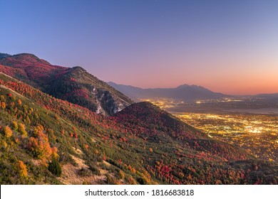 Provo, Utah, USA view of downtown from the lookout during an autumn dusk.