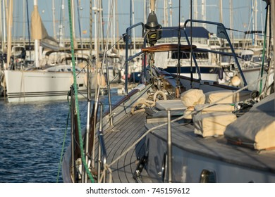 prow of a sailboat, sports marina area, Copy Space, background blurred of other ship docked