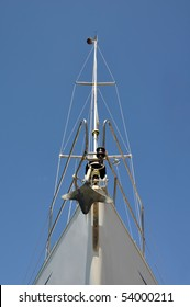 Prow of a sailing boat in the harbor