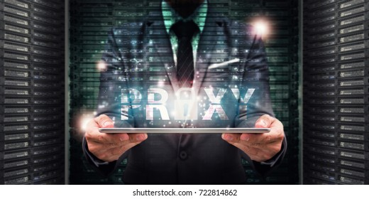 Proxy bypass for network security computer : Business man working on tablet with proxy process in data center