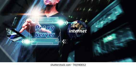 Proxy server for network security computer : Network administrator access the proxy server gate way in data center : Elements of this image furnished by NASA