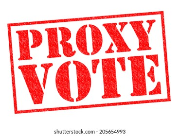 PROXY VOTE red Rubber Stamp over a white background.