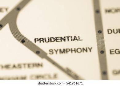 Prudential Station. Boston Metro map.
