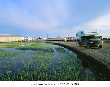 PRUDHOE BAY, ALASKA - JULY 3, 2006: Midnight picture shows Prudhoe Bay Oil Field, the census-designated place located in North Slope Borough in the U.S. state of Alaska. The oil produce start in 1977.