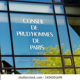 Prud'hommes Council of Paris. Reflections in a glass facade. Labor Court.