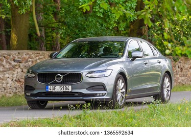 PRUHONICE, CZECH REPUBLIC - JULY 9, 2018: Silver Volvo S90 D5 in Pruhonice, Czech Republic, July 9, 2018.