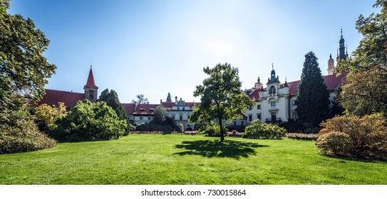 Pruhonice, Czech Republic- September 23, 2017: Pruhonice Chateau and Park. The castle got its current Neo-Renaissance form at the end of the 19th century