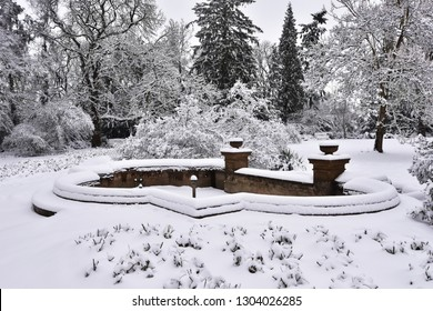 Pruhonice garden in winter,Prague capital city of Czech republic