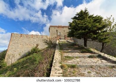 Pruin Castle ruins, medieval fortress built over Genova, Liguria, Italy