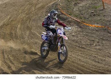 PRUNDU,ROMANIA - MARCH 26 - Popescu Ciprian participates in the Motocross Championships on MARCH 26, 2011 in PRUNDU,ROMANIA