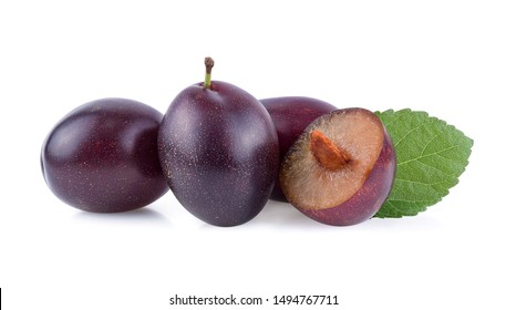 prune or plum isolated on white background.