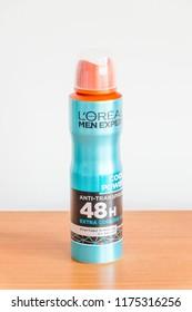 Pruszcz Gdanski, Poland - August 19, 2018: L'Oreal Men Expert Cool Power 48H Anti-Perspirant Deodorant.