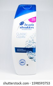 Pruszcz Gdanski, Poland - December 8, 2019: Head & Shoulders anit-dandruff Classic clean shampoo on white background.