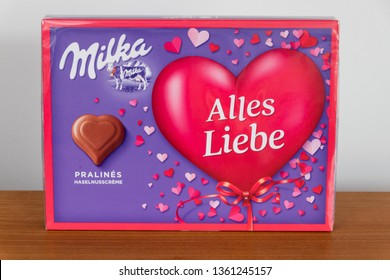 Pruszcz Gdanski, Poland - February 18, 2019: Pralines by Milka in the shape of a heart from Germany.