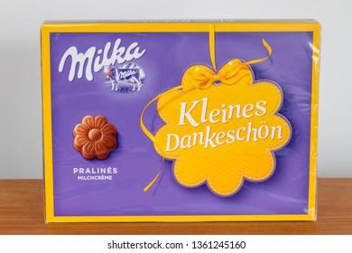 Pruszcz Gdanski, Poland - February 18, 2019: Pralines by Milka from Germany.