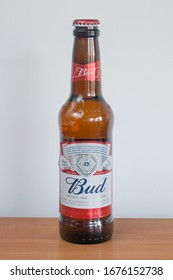 Pruszcz Gdanski, Poland - March 12, 2020: Bottle of Bud, kings of the beer.