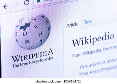 Pruszcz Gdanski, Poland - March 29, 2018: Wikipedia website with logo on PC display screen.