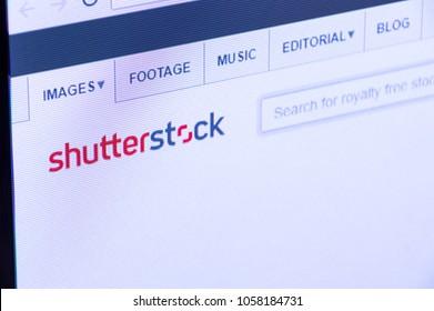 Pruszcz Gdanski, Poland - March 29, 2018: Shutterstock website with logo on PC display screen.