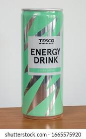 Pruszcz Gdanski, Poland - March 6, 2020: Tesco green apple energy drink.