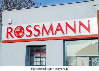 Pruszcz Gdanski, Poland - November 11, 2017: Rossmann logo and sign at cosmetics store.
