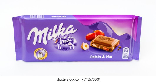 Pruszcz Gdanski, Poland - October 28, 2017: Milka chocolate with raisin and nuts.