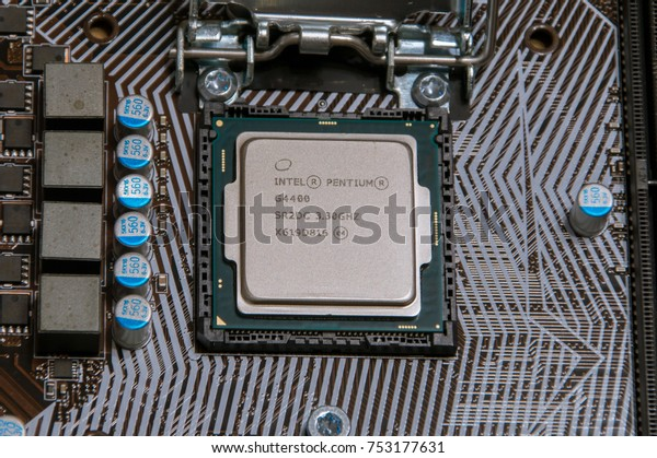 Pruszcz Gdanski, Poland - October 31, 2017: Close-up for Intel Pentium G4400 on PC motherboard.
