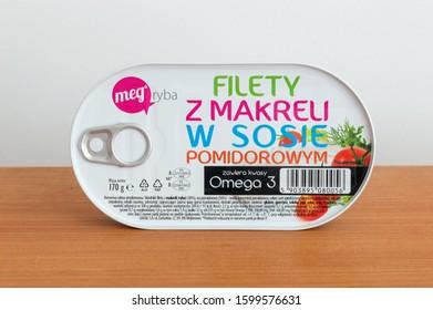 Pruszcz Gdanski, Poland - September 23, 2019: Can of mega ryba mackerel fillets in tomato sauce.