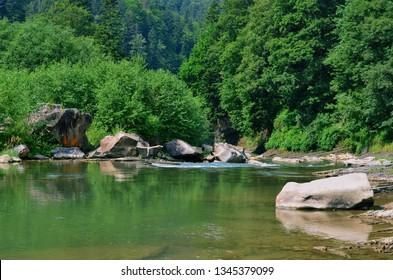 Prut River in Ukraine. Yaremche, Carpathians