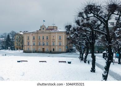 Przemysl City Hall in winter scenery. Przemysl, Podkarpackie, Poland.