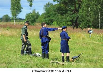 Przhevalskoe, Smolensk region, Russia: July 16, 2016: the 1-st partisan battle reconstruction