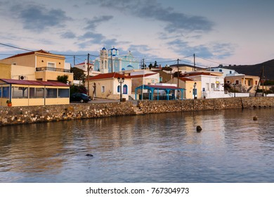 Psara, Greece - November 9, 2017: Morning view of the harbour in Psara village, Greece.