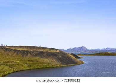 The Skutustadagigar are pseudocraters at the Lake Myvatn. The craters were formed by steam explosions, when boiling lava flowed over the wetlands. The wetlands are popular for birdwatching.
