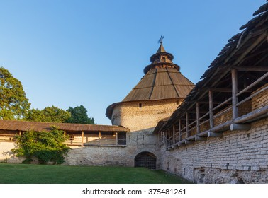Pskov. Intercession tower and fortress walls summer evening
